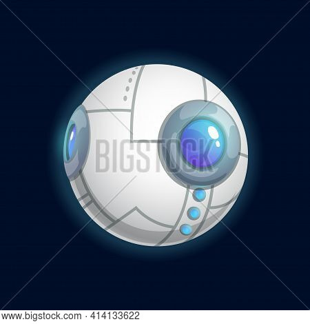 Mystic Planet In Shape Of Eyeball Isolated Cartoon Futuristic Globe. Vector Exoplanet In Shape Of Hu