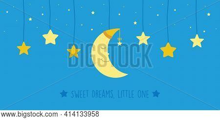 Hanging Sleeping Moon And Stars In Sky Childhood