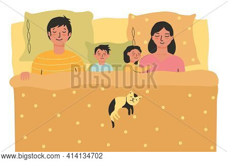 Sleeping Family In Bed. Dad, Son, Daughter Hugs Mom. Sleeping Cat On A Blanket. Happy Family Falls A