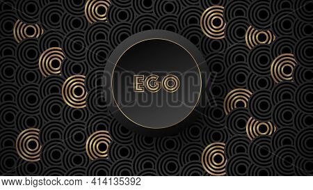 Abstract Geometric Background With Golden And Grey Circles With Round Ego Button.