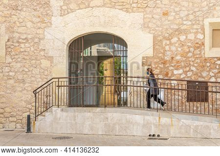 Manacor, Spain; March 18 2021: Entrance To The Cloister Of Sant Vicenç Ferrer, Historic Building Tha
