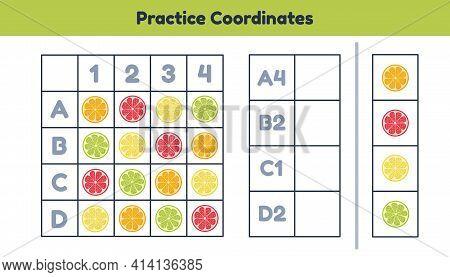 Educational Math Worksheet For Kids Kindergarten, Preschool And School Age. Practice Coordinates.