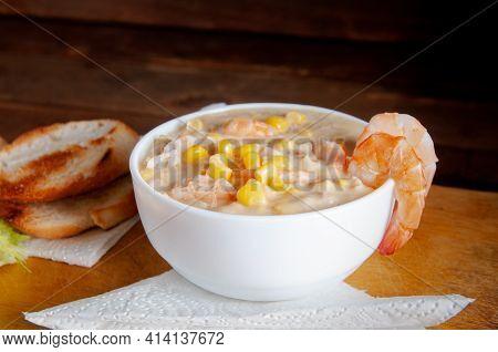 Homemade Clam Chowder With Shrimp, Top View.