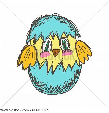 Cartoon Chick In Eggshell. Simple Flat Vector Clipart Of Nestling Hatched From Egg, Isolated On Whit