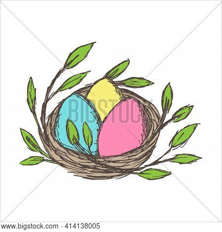 Three Multi-colored Eggs Lie In The Nest. Vector Grunge Cartoon Easter Clipart Isolated On White Bac