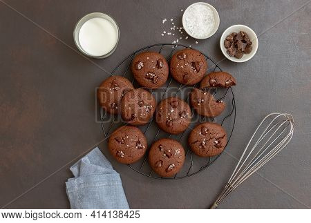 Chocolate Cookies With Salt And Pieces Of Chocolate. Homemade Pastries. Recipe. Vegetarian Food.