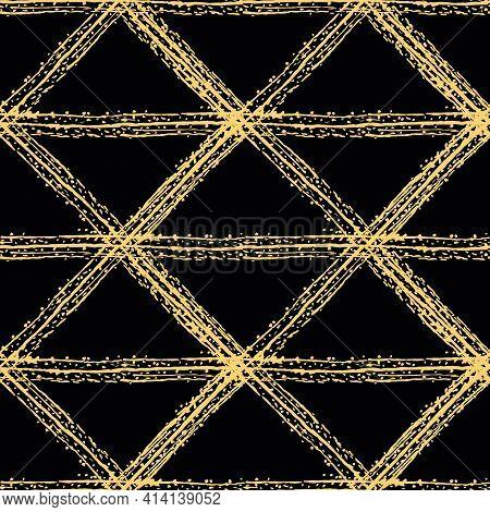 Vector Grunge Stripe Braid Weave Effect Seamless Interlace Pattern Background. Brush Stroke Effect C