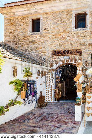 Afionas, Corfu, Greece - Aug 03, 2020: Artesian Shop Of Handmade Olive Wood Articles And Souvenirs I