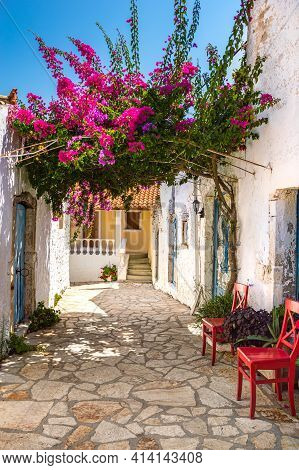 Picturesque Street With White Ancient Greek Houses And Vibrant Flowers Of Pink Bougainvillea In Old