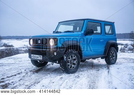 Moscow, Russia - January 24, 2020: Exterior Of New Suzuki Jimny Line Of Four-wheel Drive Off-road Mi