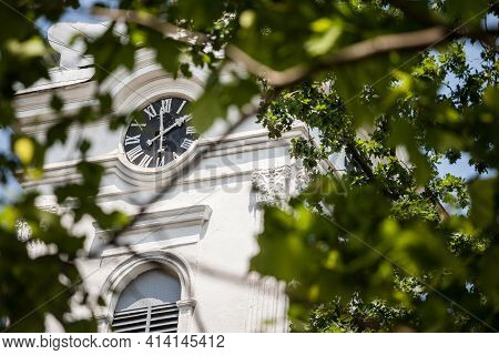 Close Up On Church Clocktower Steeple Of The Serbian Orthodox Church Of Alibunar, Voivodina, Serbia