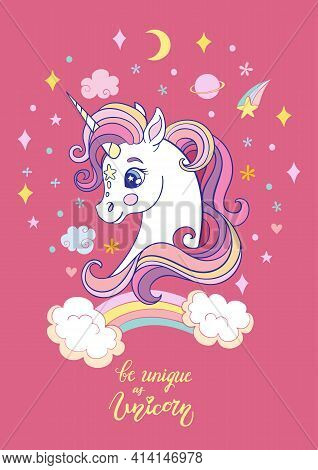 Cute Cartoon Dreaming Unicorn With Rainbow. Vector Vertical Llustration Isolated On Pink. Birthday,