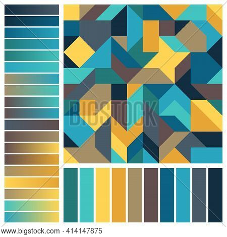 Geometric Seamless Pattern With Blue, Brown, Yellow Color Swatches And Gradients. Graphical Backgrou