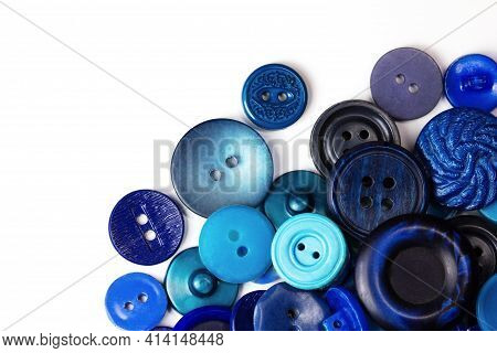 Colorful Blue Buttons On A White Background. Lots Of Blue Buttons. Old Vintage Buttons Close Up. Cop