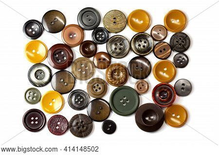 Colorful Bright Brown, Beige And Ochre Buttons Background. Old Vintage Buttons Close-up. Top View. B