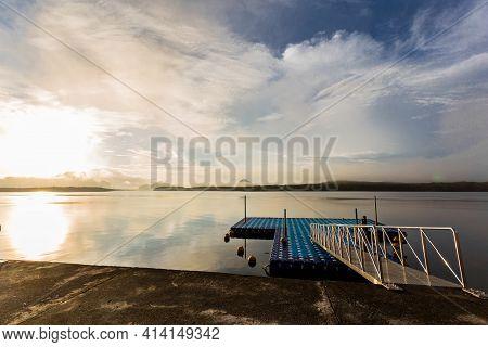 Tourism Port In The Colorful Sunrise At Ban Sam Chong Tai, Phang Nga Province, Thailand.