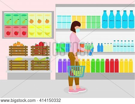 Woman In The Store Buys Groceries. Girl With A Trolley In A Grocery Store. A Young Lady In A Mask Bu