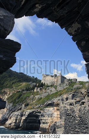 Portovenere ( Sp ), Italy - April 15, 2017: Cliff View Fron San Pietro Church, Portovenere Gulf Of P