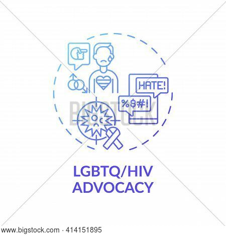 Lgbtq And Hiv Advocacy Concept Icon. Legal Services Types. Legal Representation To People Living Wit