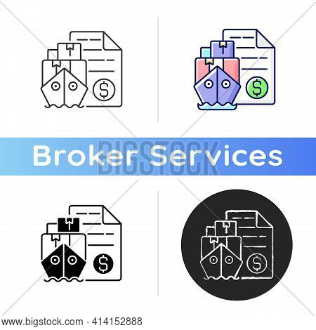 Shipping And Freight Broker Icon. Comission Cargo Delivery. Financial Deal For Exporting And Importi