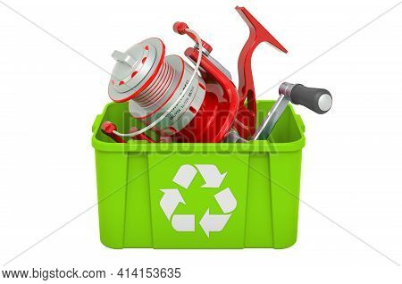 Recycling Trashcan With Fishing Reel, 3d Rendering Isolated On White Background