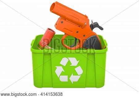 Recycling Trashcan With Signal Flare Launcher, 3d Rendering Isolated On White Background