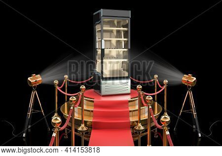 Podium With Display Case, Chiller, Showcase. 3d Rendering Isolated On Black Background