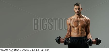 Website Header Of Adorable Bodybuilder Building Up Muscles With Dumbbells Isolated On Grey Backgroun