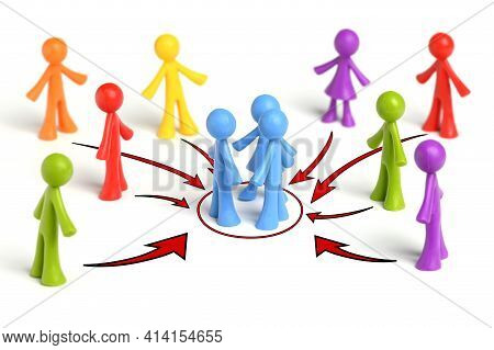 . A Group Of Like-minded People Gathers People. Political Agitation. Recruitment. Joining Around Ide