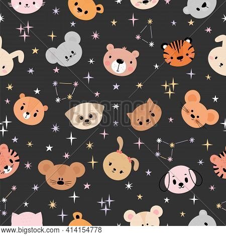 Childish Seamless Pattern With Cute Smiley Animal Faces. Creative Baby Texture For Fabric, Nursery,