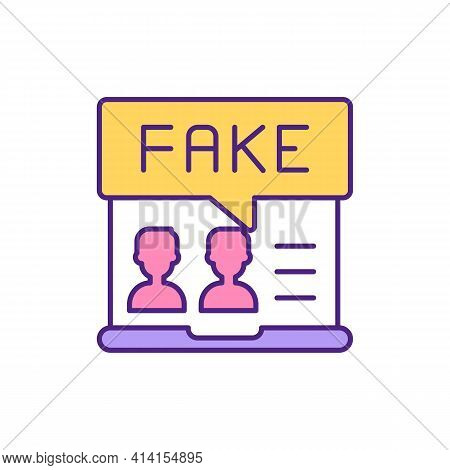 Fake Profile Photos On Dating Website Rgb Color Icon. Hide Personality On Internet. Pretend To Be An