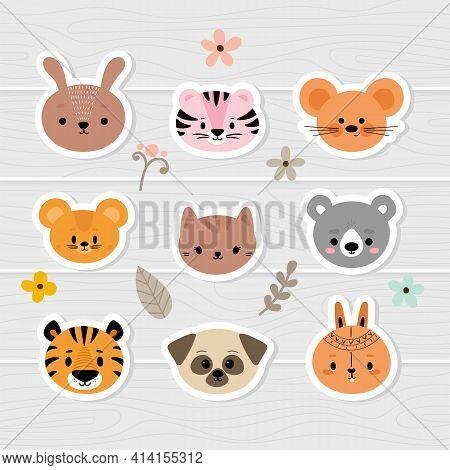 Set Of Cartoon Stickers With Animals For Kids. Cute Hand Drawn Characters. Sweet Baby Faces