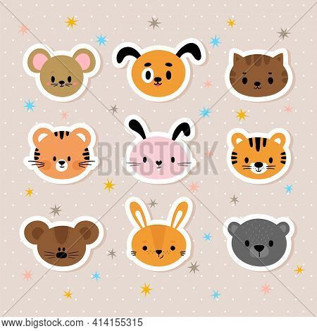 Set Of Cartoon Stickers With Animals For Kids. Cute Hand Drawn Characters. Sweet Smiley Faces. Backg