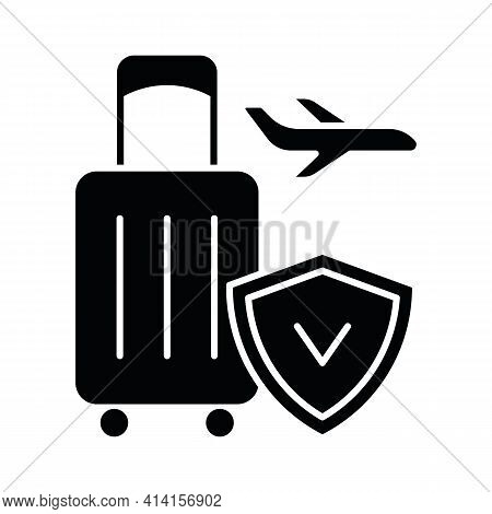 Travel Insurance Black Glyph Icon. Covering Traveling Costs And Losses. Reimbursement For Last-minut