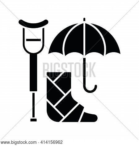 Disability Insurance Black Glyph Icon. Wage Replacement For Disabled Employee. Adequate Health Cover