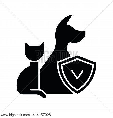 Pet Insurance Black Glyph Icon. Pet-care Policy. Accident And Illness Plan. Exorbitant Vet Bills Cov