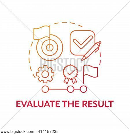 Evaluate The Result Red Gradient Concept Icon. Strategy For Decision Making. Estimate Information. P