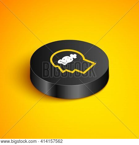 Isometric Line Human Head With Inscription 18 Plus Icon Isolated On Yellow Background. 18 Plus Conte