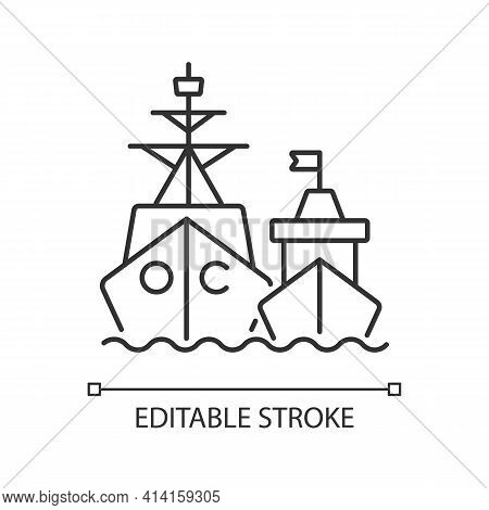 Naval Fleet Linear Icon. Military Force Unit. Warships Formation In Ocean. Warfare Ships. Thin Line