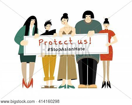 A Vector Illustration Of A Group Of Women Of Asian Origin Protesting Against The Racial Hatred With