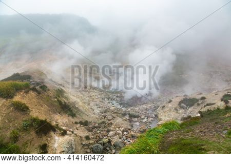 Mysterious View Of Volcanic Landscape, Aggressive Hot Spring, Erupting Fumarole, Gas-steam Activity