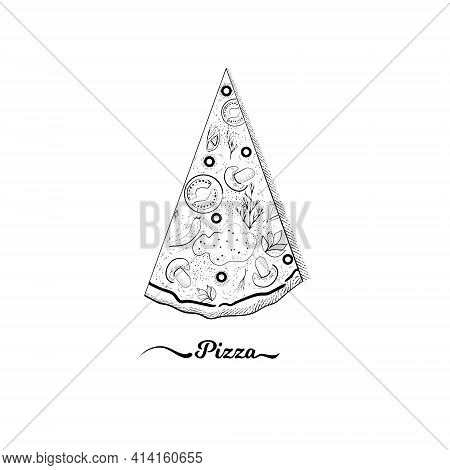 Image Of A Pizza Slice In The Same Color With The Title Pizza . Vector Illustration For Pizza Packag