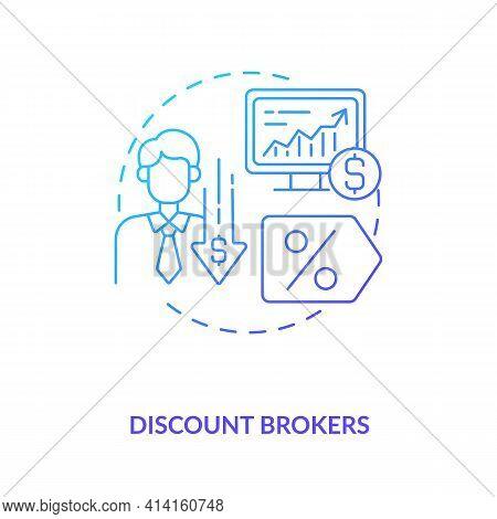 Discount Brokers Concept Icon. Broker Type Idea Thin Line Illustration. Providing Investment Service