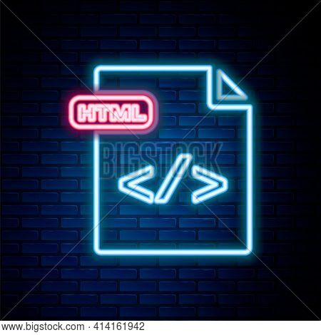 Glowing Neon Line Html File Document. Download Html Button Icon Isolated On Brick Wall Background. H