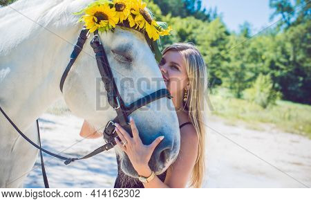 Nice American Girl At Countryside With A Horse. A Beautiful Rider And Horse. Artistic Photography At