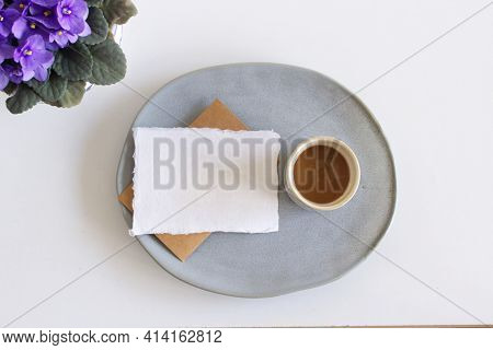 Spring Stationery Mock-up Scene. Blank Greeting Card, Earthenware Plate, A Cup Of Coffee, African Vi