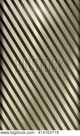 Light Metal Background With Golden Highlights, Corrugated Texture - Vector Illustration