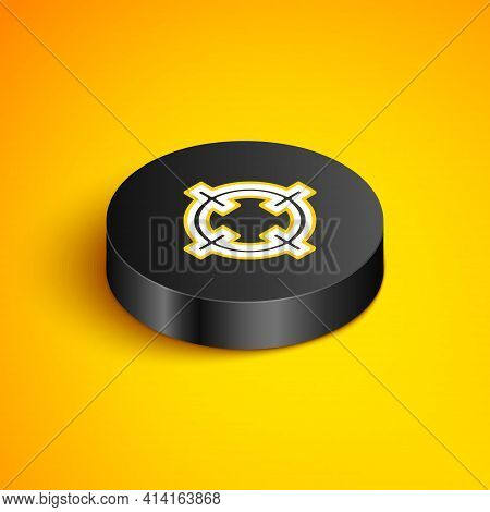 Isometric Line Target Sport For Shooting Competition Icon Isolated On Yellow Background. Clean Targe