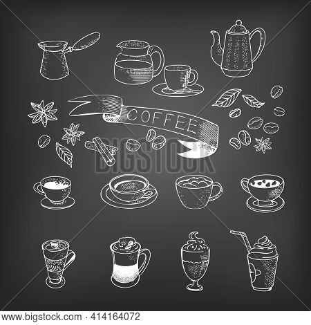 Coffee, Espresso, Cappuccino, Mochachino, Glasses, Set Of Coffee Cups, Coffee Beans. Vector Coffee I