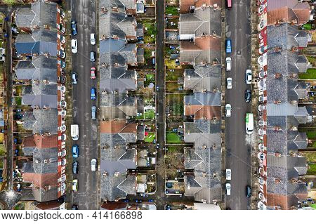 An Aerial View Of Rows Of Terraced Houses And Streets In The North Of England With Copy Space